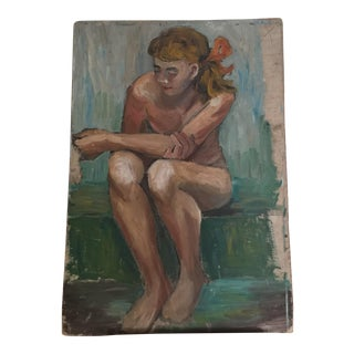French Vintage Painting of Girl Nude