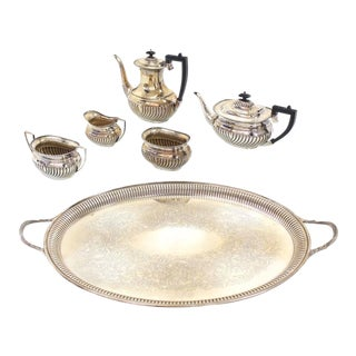 Five Pieces English Silver Plated Sheffield Tea or Coffee Set For Sale