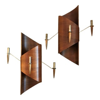 Vintage Mid Century Italian Danish Modern Formed Teak Wood Candle Sconces - a Pair For Sale