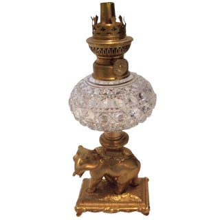 19th Century Electrified Crystal Oil Lamp