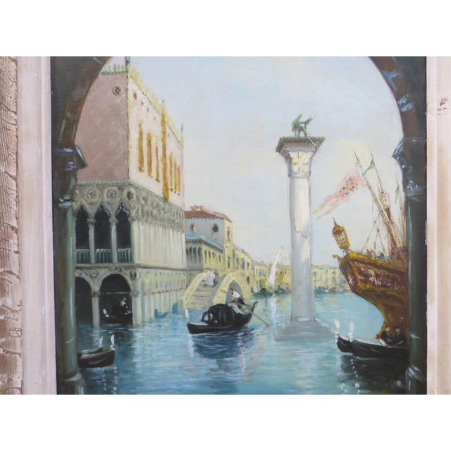"Very nice painting from Venice ""Acqua alta "" Oil on canvas on panel representing a canal in Venice signed lower left of an..."