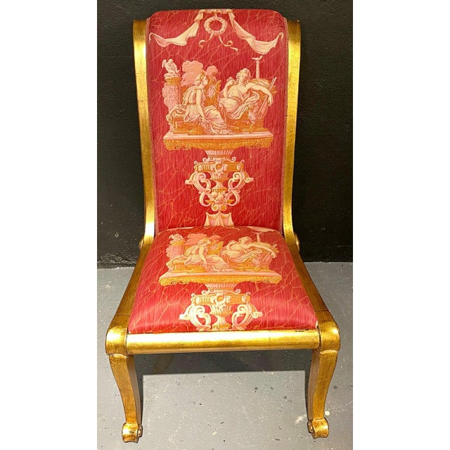 Neoclassical Ten Neoclassical Dining Chairs in Fine Versace Style Fabric For Sale - Image 3 of 12