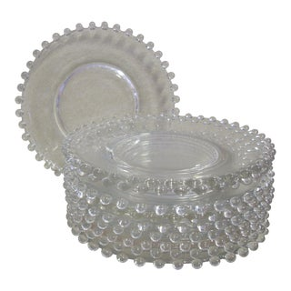 1950s Glass Candlewick Dessert Plates - Set of 10 For Sale