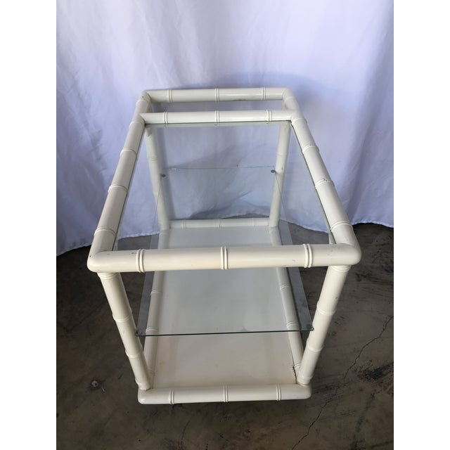 1980s 1980s Bamboo-Style White Lacquer Bar Cart/ Trolley For Sale - Image 5 of 10