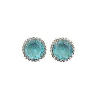 1960s Castlecliff Faux-Aquamarine Rhinestone Earrings For Sale