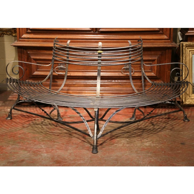 Iron French Polished Iron Curved Around the Tree Shaped Garden Bench Signed Sauveur For Sale - Image 7 of 10