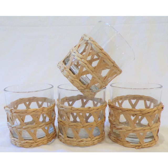 Vintage Rafia Wrapped Double Old Fashion Glasses - Set of 4 For Sale In Houston - Image 6 of 9