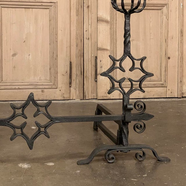 18th Century Grand Wrought Iron Andirons For Sale - Image 4 of 13