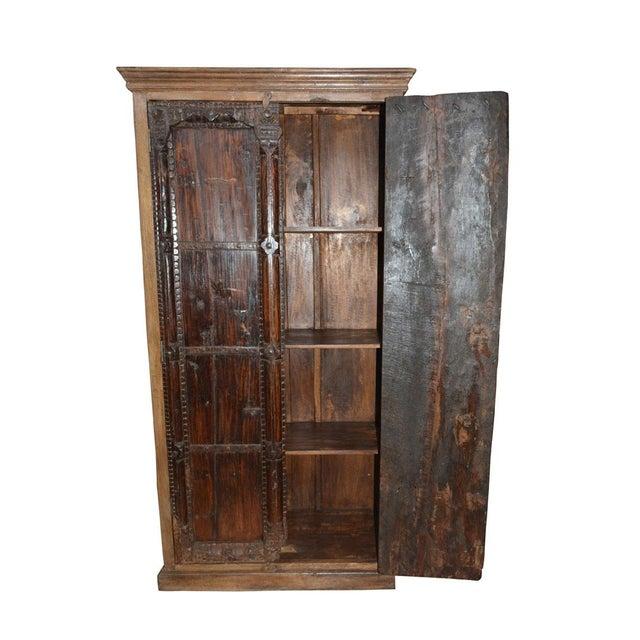 Antique Indian Furniture Spanish Colonial Dark Teak Wood Storage Wardrobe