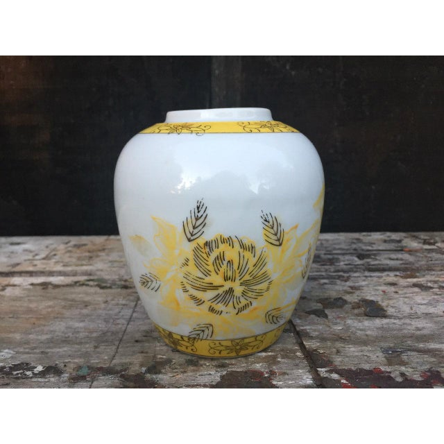 Yellow and White Floral Vase For Sale - Image 4 of 8