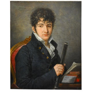 French Empire Period Portrait of a Young Flute Player by Louis-Francois Lejeune For Sale