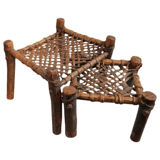 Pair of Rustic 19th Century Rawhide Woven Foot Stools For Sale