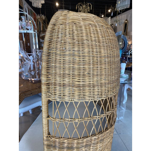 Tan Vintage Wicker and Rattan Newly Upholstered Dome Hooded Loveseat Settee Chair For Sale - Image 8 of 13