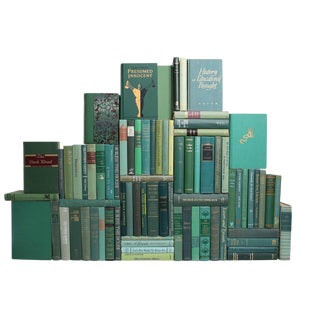Midcentury Boxwood Book Wall : Set of Seventy Five Decorative Books in Shades of Green