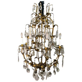 1960's Italian Tole Leaf and Crystal Chandelier For Sale