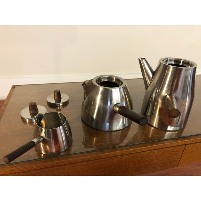 Vintage Danish Stainless and Rosewood Coffee and Tea Set Made in Denmark by Lundtofte For Sale - Image 10 of 12