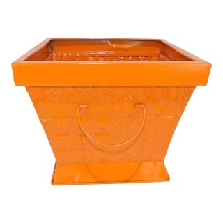 Contemporary Orange Square Metal Catchall Bin Organizer For Sale