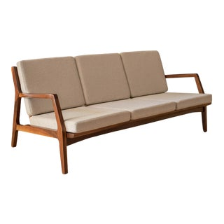 Mid-Century Modern Three-Seat Walnut Frame Sofa For Sale