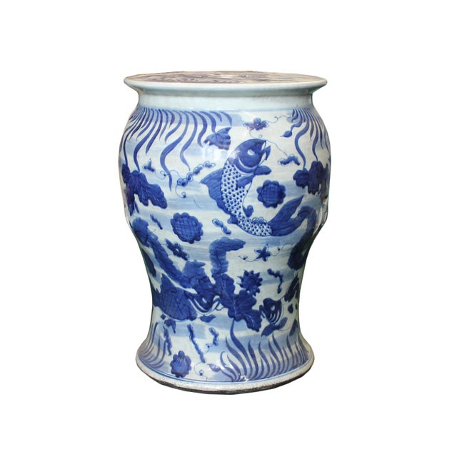 Asian Chinese Distressed Blue & White Porcelain Round Fishes Stool For Sale - Image 3 of 9