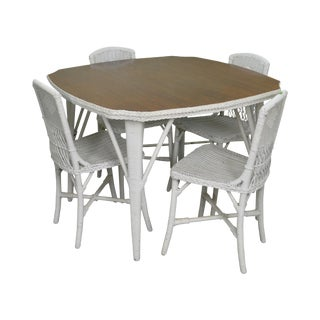 Antique White Wicker Mahogany Top Dining Table w/ 4 Chairs For Sale