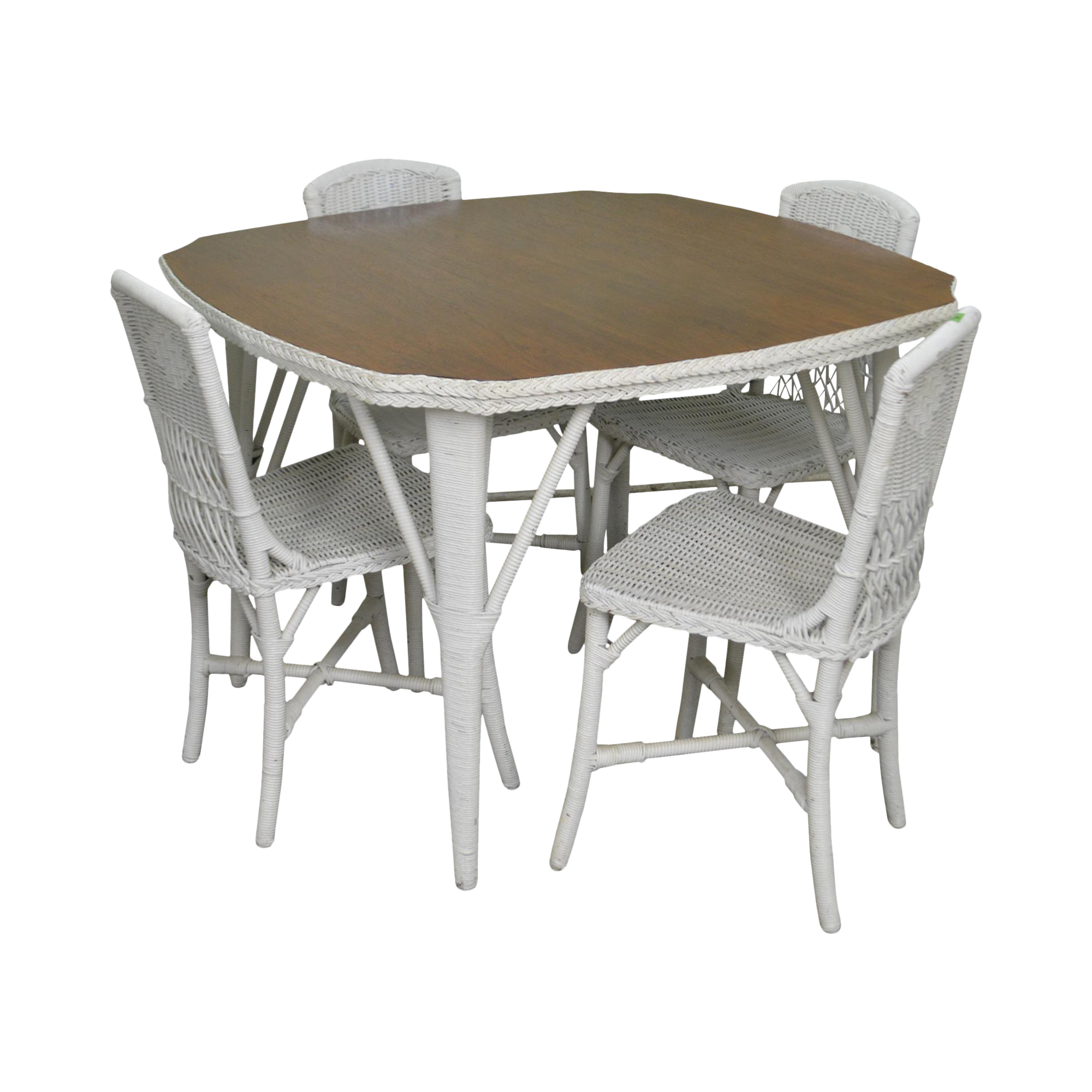 Antique White Wicker Mahogany Top Dining Table W/ 4 Chairs