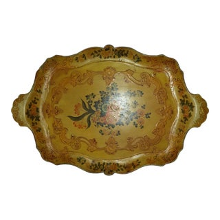 Antique Floral Paper Mache Tray