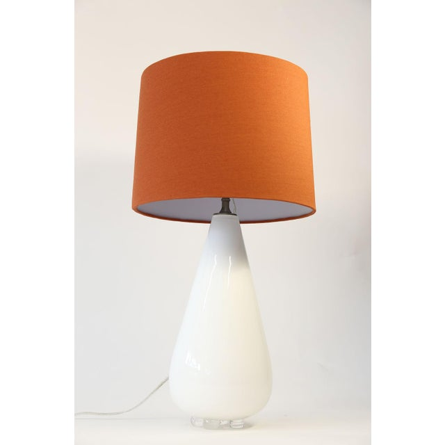 White Glass Table Lamp For Sale In Houston - Image 6 of 10