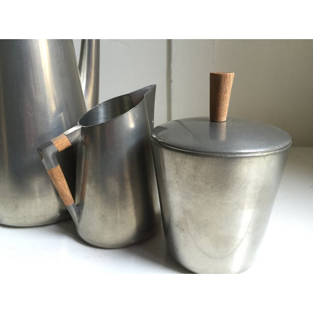 Royal Holland Pewter & Teak Coffee / Tea Set For Sale In San Francisco - Image 6 of 6