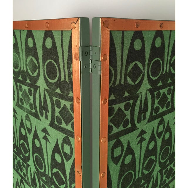 Hand Block Printed Black and Green Fabric Four Panel Screen For Sale - Image 9 of 11