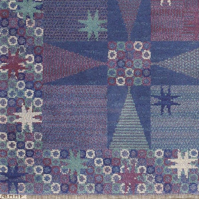 Mid-Century Modern Vintage Scandinavian Carpet by Marta Maas-Fjetterström - 6′ × 6′ For Sale - Image 3 of 9