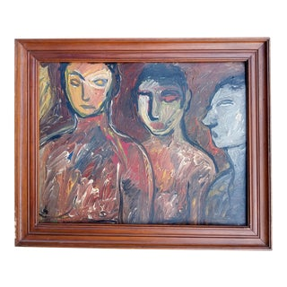 Mid 20th Century Portrait of Three Nudes Oil Painting, Framed For Sale