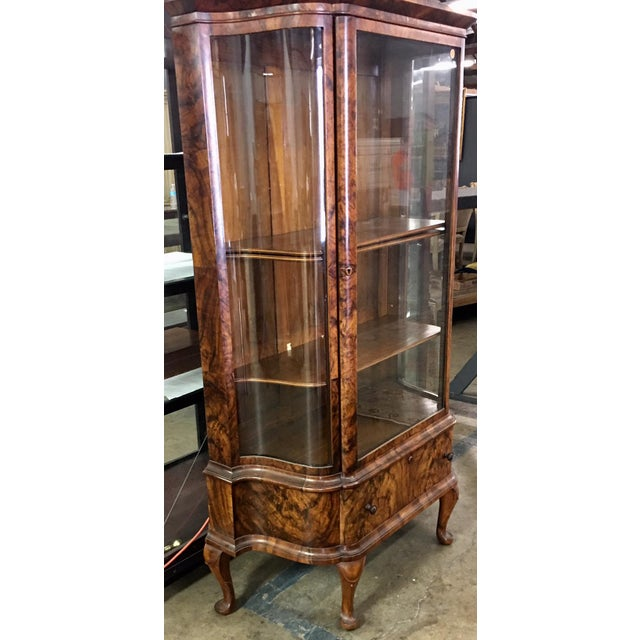 Antique Biedermeier Style Vitrine Cabinet W Exotic Mahogany For Sale - Image 4 of 5