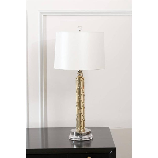 An exceptionally fine pair of etched modern lamps, circa 1960. Exquisite design with stellar detail. Brass and nickel-...