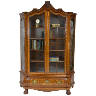 Antique Display Cabinet With Dutch Marquetry For Sale