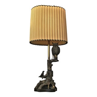 Mid Century Modern Bronze Owl Lamp by Marbro Lamp Co. With Original Shade