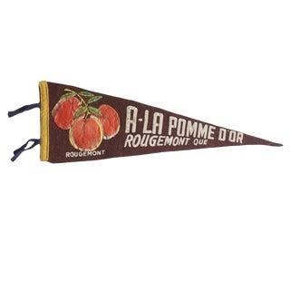 Vintage the Golden Apple Rougemont Quebec Felt Flag Pennant