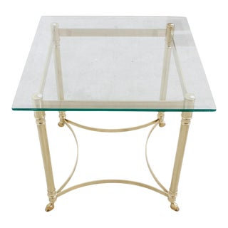 Small Square LaBarge Brass & Glass Coffee Table For Sale