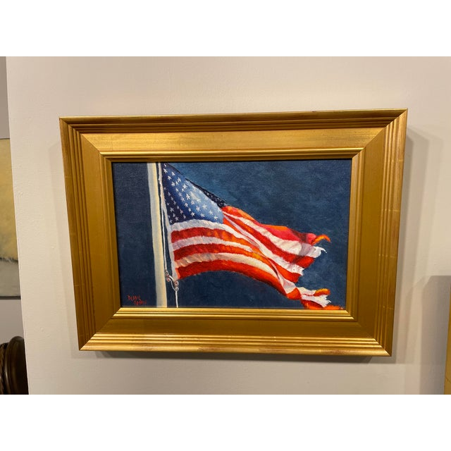 """Contemporary """"Tattered and Torn"""" Contemporary American Flag Giclee by Debbie Hearle, Framed For Sale - Image 3 of 3"""