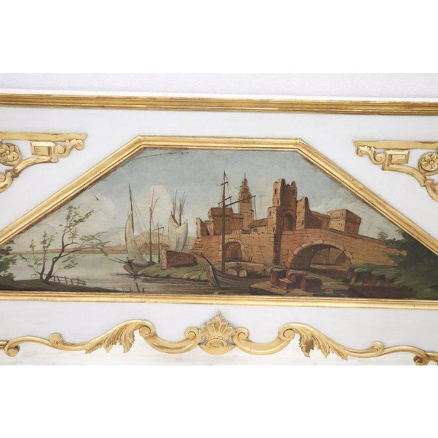 20th Century, Italian Louis XVI Style Wood Lacquered and Gilded Fireplace Mirror For Sale - Image 4 of 13