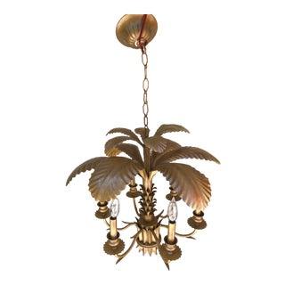 Mid-Century Italian Gilt Tole Palm Chandelier Seven Lights For Sale