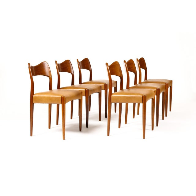 Vintage Mid Century Danish a.h. Olsen for Mogens Kold Teak Dining Chairs- Set of 6 For Sale - Image 10 of 10