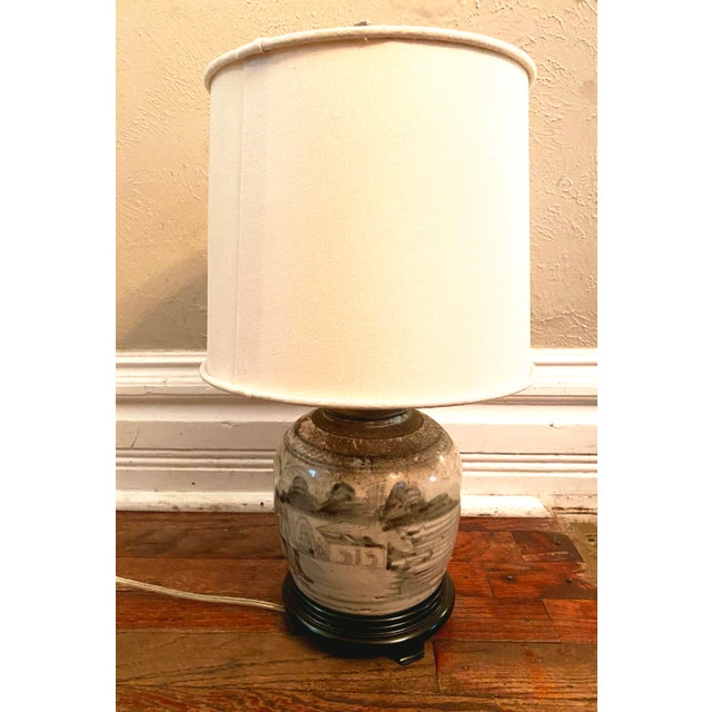Off-white Glazed Chinese Sage Green Ginger Jar Table Lamp With Shade For Sale - Image 8 of 13