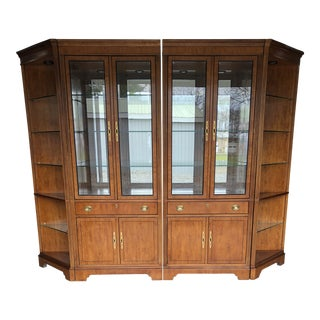 1980s Chippendale Drexel Yorkshire Yew Wood Display/Wall Cabinet For Sale