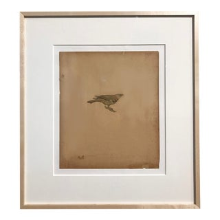"Featured in The 2020 San Francisco Decorator Showcase — 1999 ""Cow Bird"" Modern Graphite & Collage on Paper by Lance Letscher"