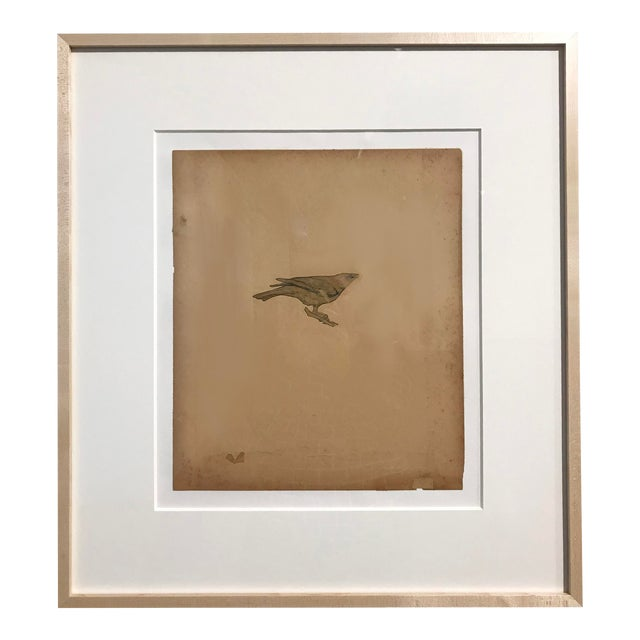 """Featured in The 2020 San Francisco Decorator Showcase — 1999 """"Cow Bird"""" Modern Graphite & Collage on Paper by Lance Letscher For Sale"""