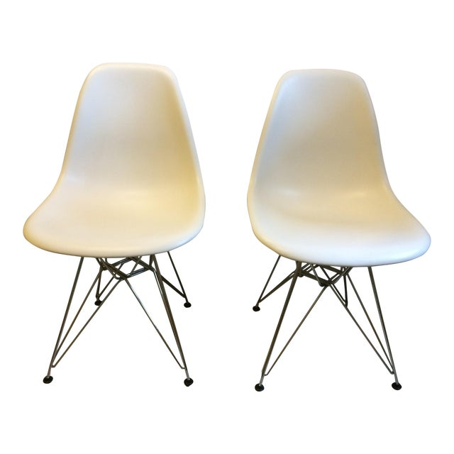 Eames Chrome Eiffel Base Side Chairs - A Pair - Image 1 of 8