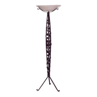 French Art Deco Wrought Iron Floor Lamp For Sale