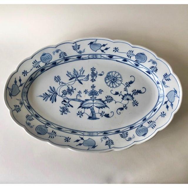 Antique Ernst Teichert Meissen Blue Onion Serving Platter For Sale - Image 10 of 10