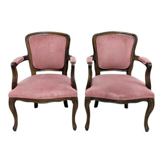 French Country Dusty Pink Velvet Walnut Arm Chairs - a Pair For Sale