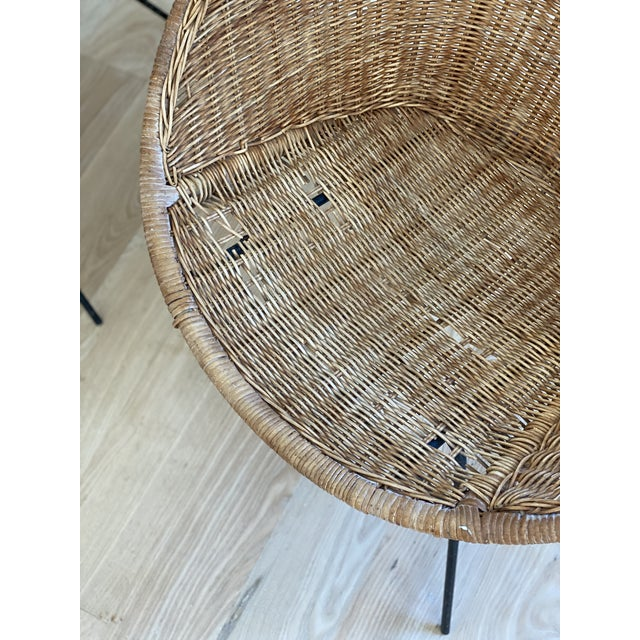 Boho Chic 1970s French Wicker Basket Chairs - a Pair For Sale - Image 3 of 6